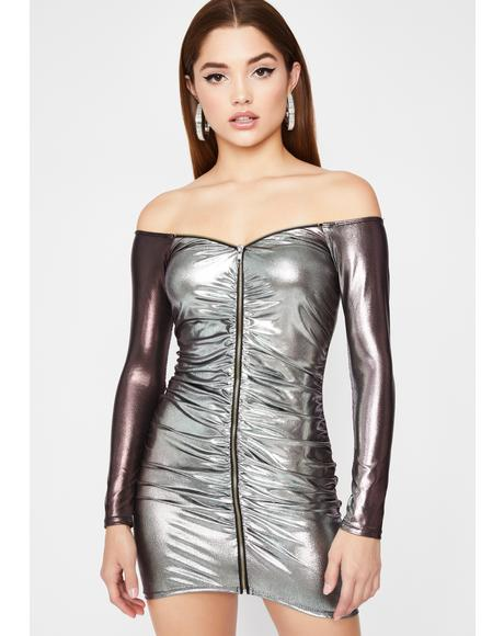 Dipped In Chrome Bodycon Dress