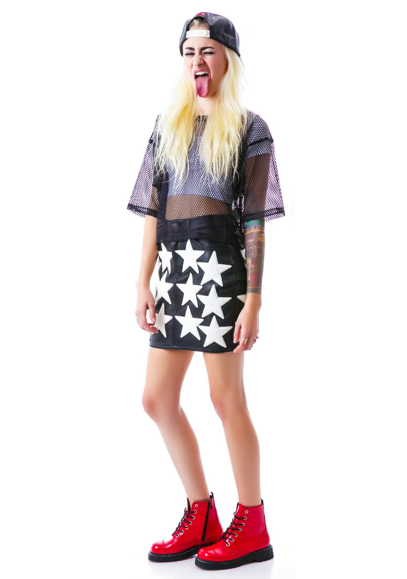 Joyrich All Star Patched High Waist Skirt