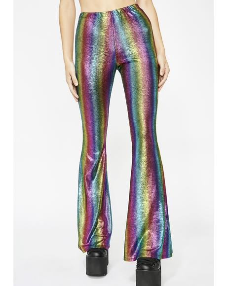 Color Waves Flared Pants