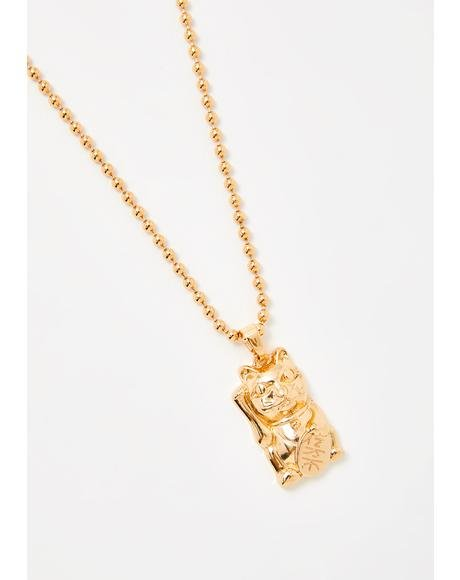 Lucky Kitten Gold Necklace