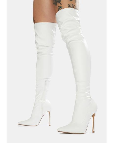 White Confidence Patent Stiletto Boots