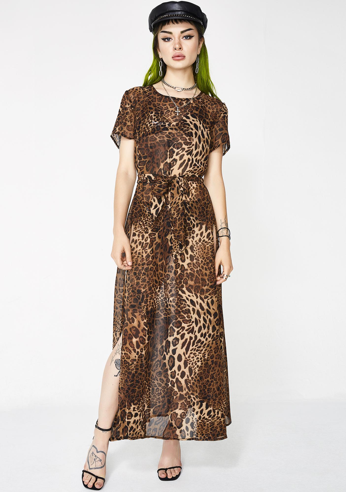 Queendom Sheer Leopard Dress