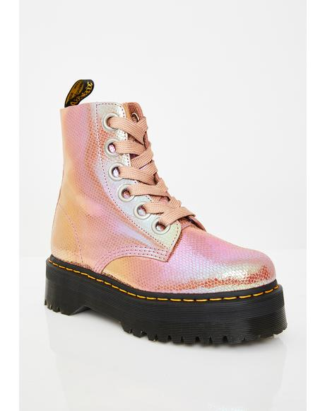 Molly Pink Iridescent Boots