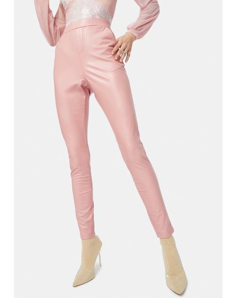 Rose Taking Control Vegan Leather Skinny Pants