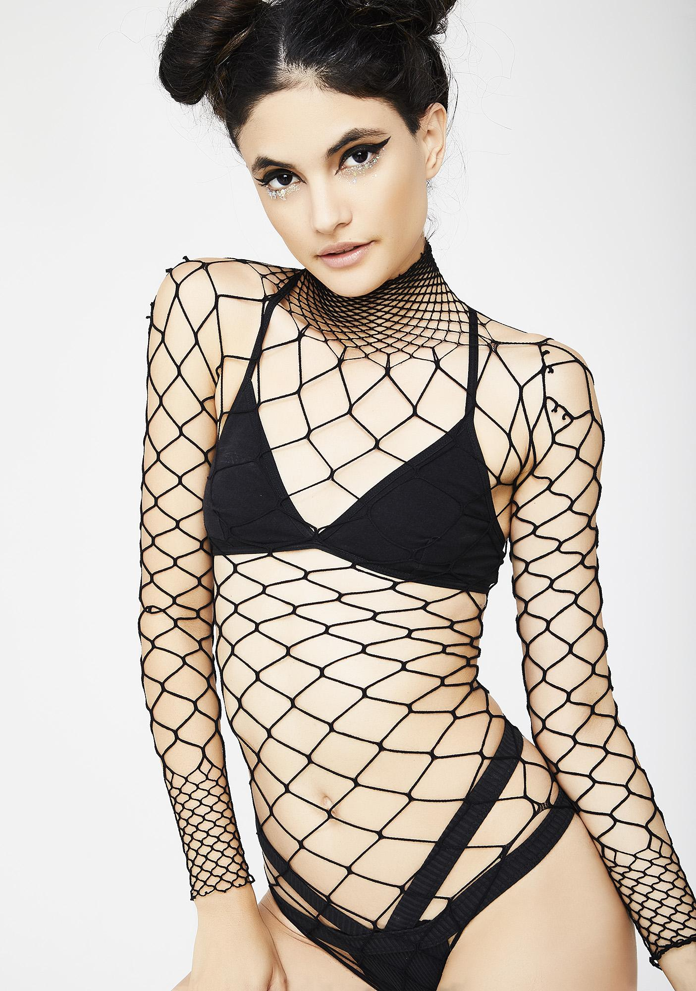 3a83bb18986 High Neck Long Sleeve Fishnet Bodysuit