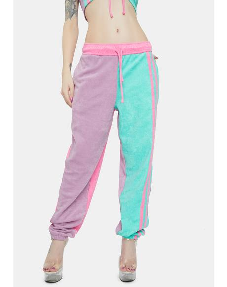 Purple And Turquoise Towelling Sweatpants