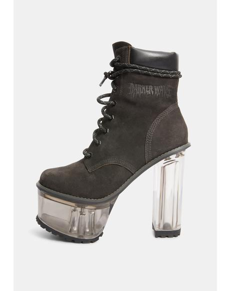 Kickdrum Clear Heeled Suede Work Boots