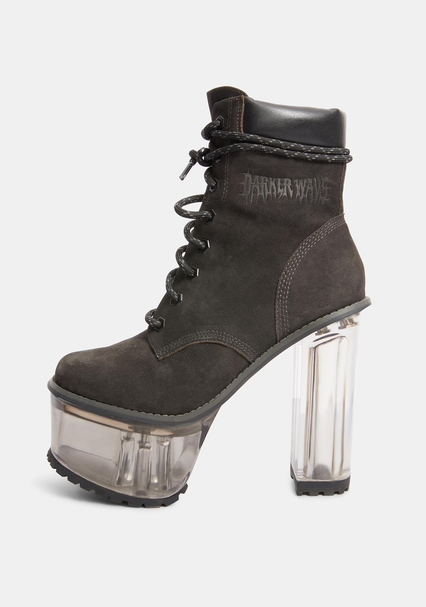 DARKER WAVS Kickdrum Clear Heeled Suede Work Boots