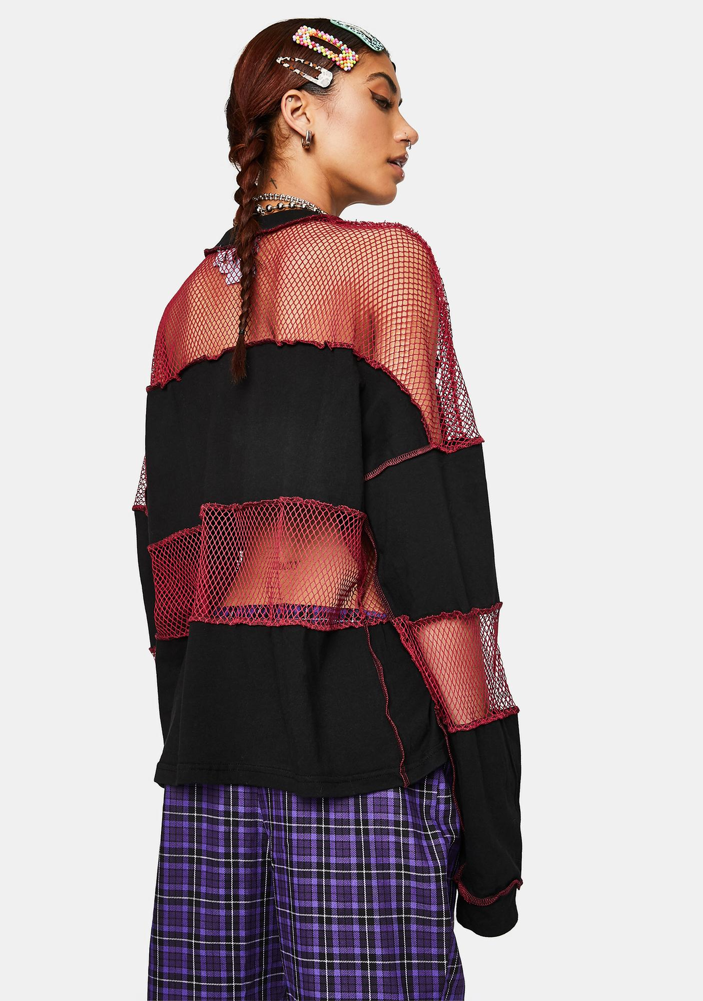The Ragged Priest Generate Fishnet Paneled Top