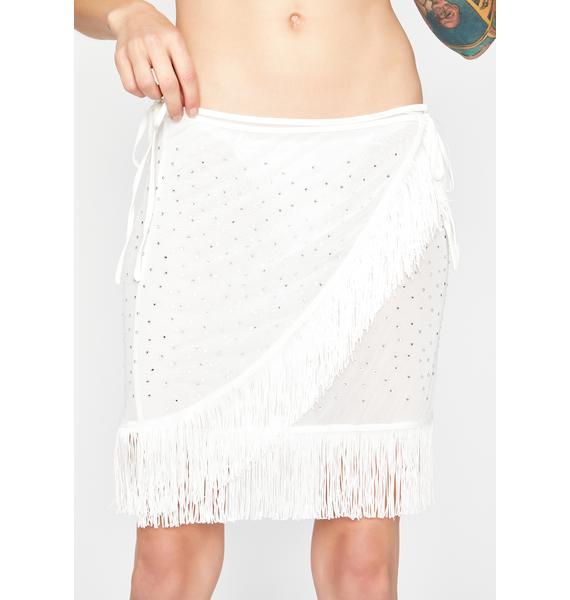 Ivory Here All Night Fringe Skirt
