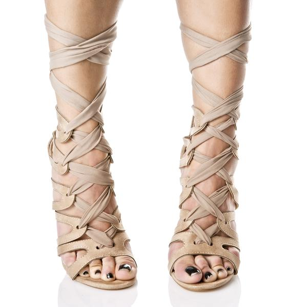 Nude On The Verge Wrap Heels