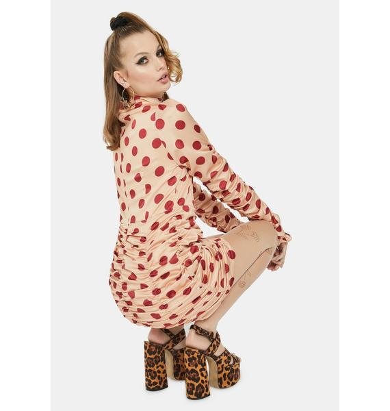 Glamorous Peach Polka Dot Ruched Mini Dress