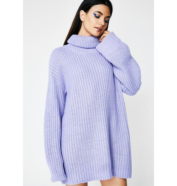 Lavender Gray Skies Sweater Dress