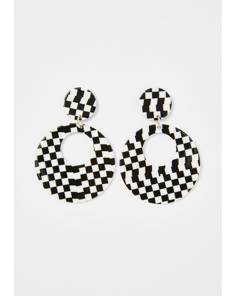 Record Breaker Checkered Earrings