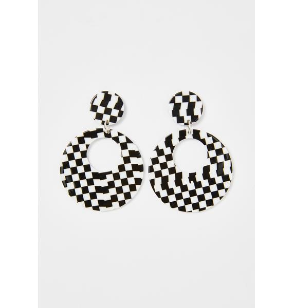 Record Breaker Checkered Earrings