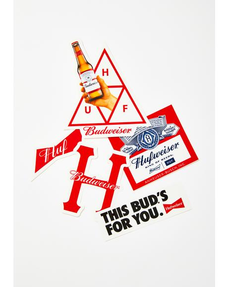 x Budweiser Sticker Pack
