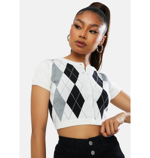 Ivory She's The Truth Argyle Crop Top
