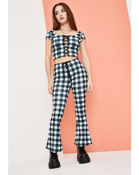 Remember This Forever Gingham Kick Flares