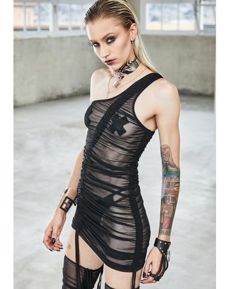 Bassline Sheer Asymmetrical Ruched Dress