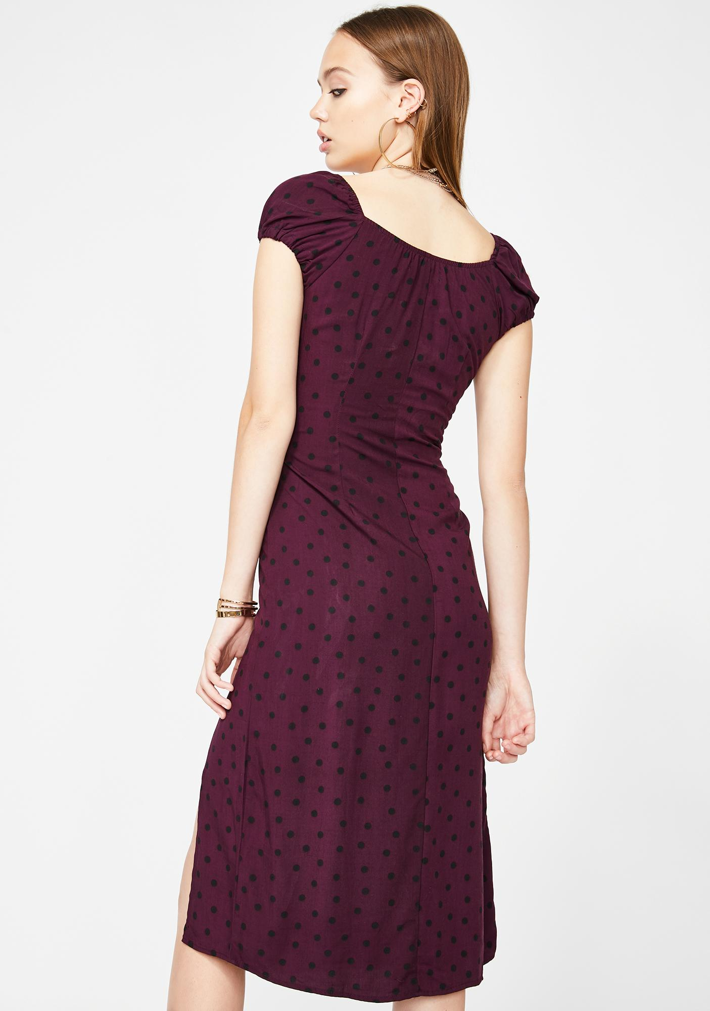 Motel Wine Milla Midi Dress