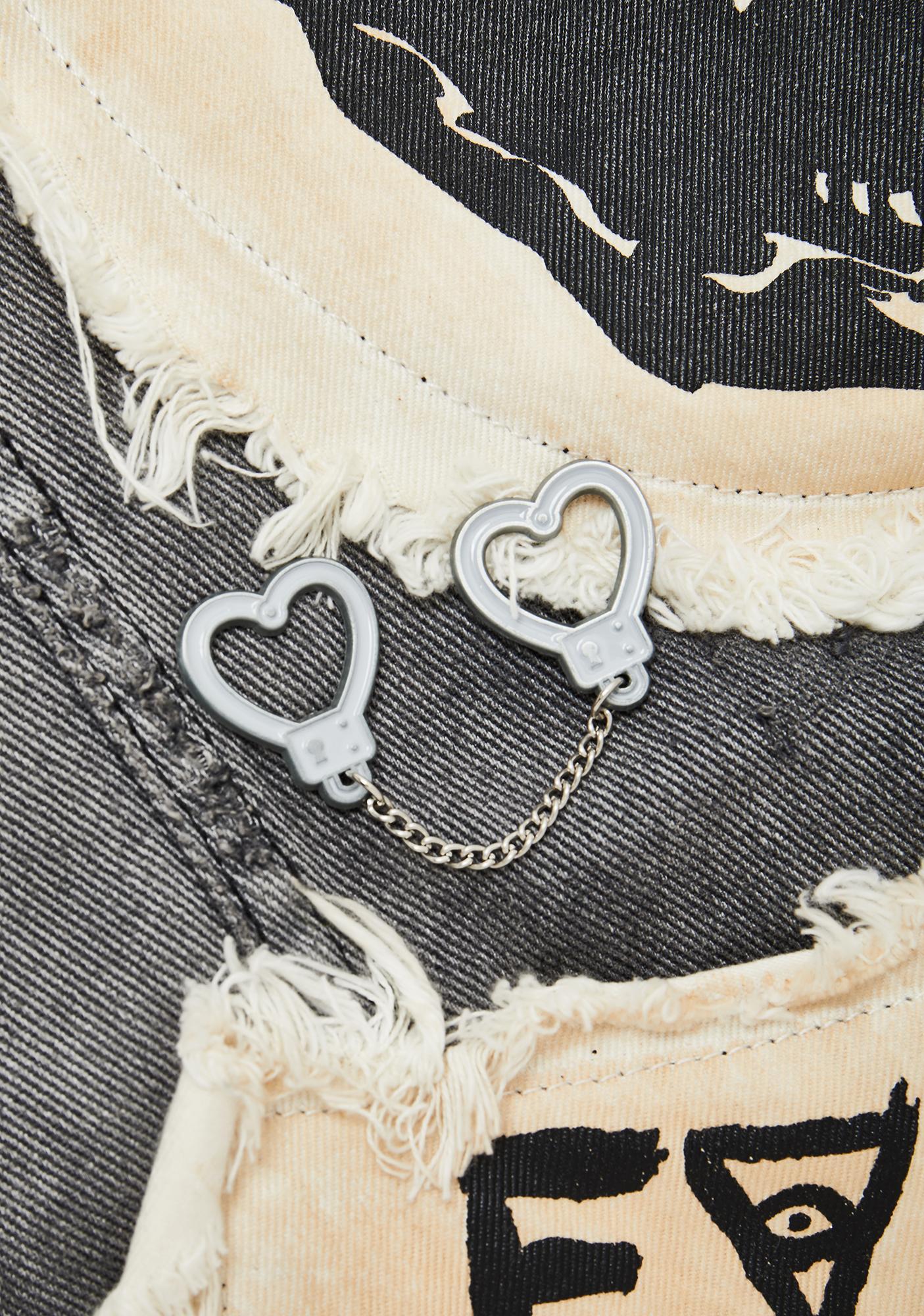 Sourpuss Clothing Heart Handcuff Chain Pins