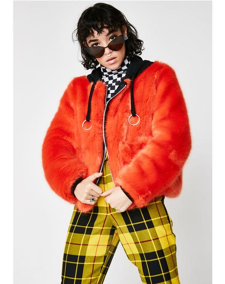 Orange Faux Fur Coat With Hood