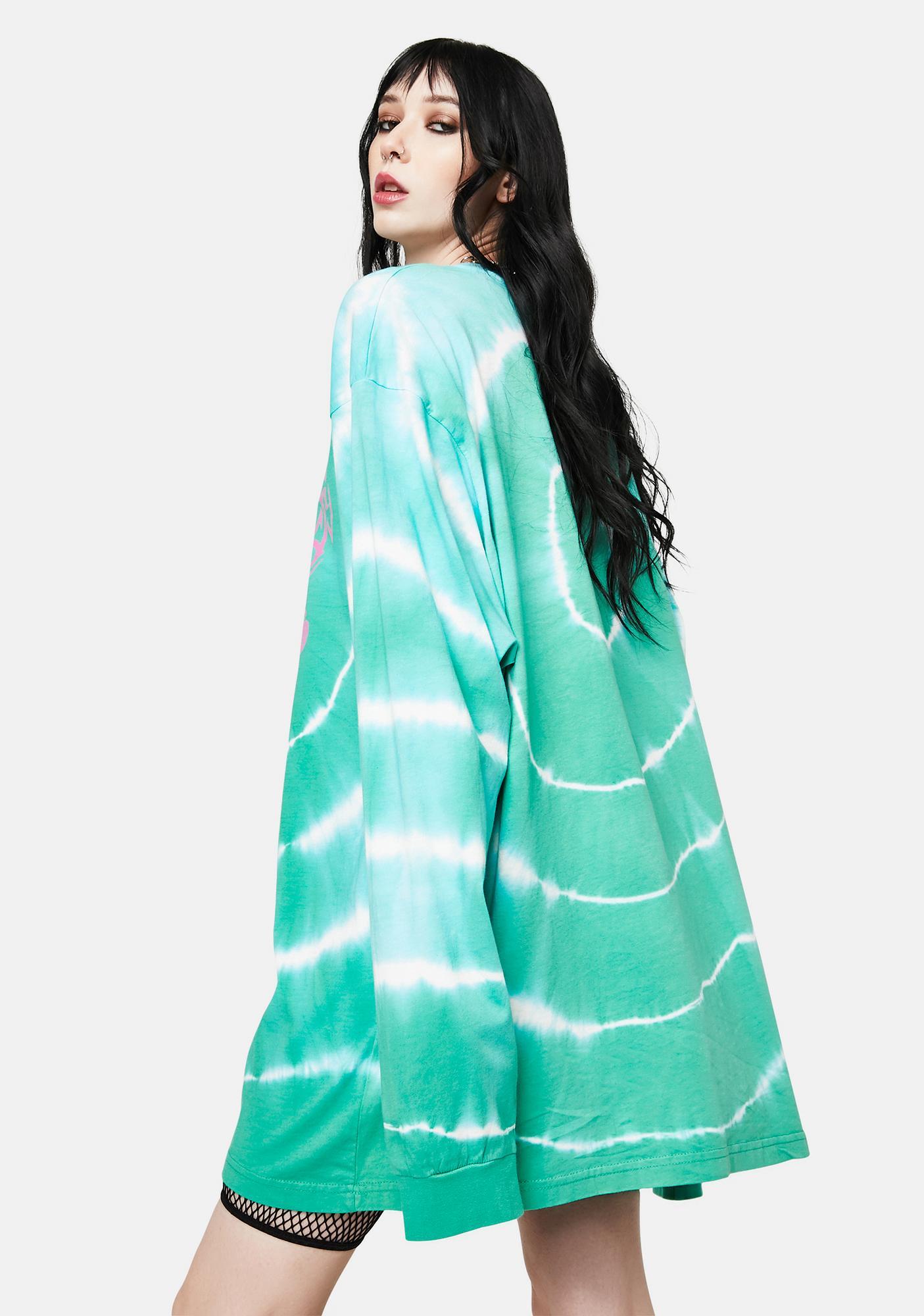 NEW GIRL ORDER Dragon Print Tie Dye Long Sleeve Tee