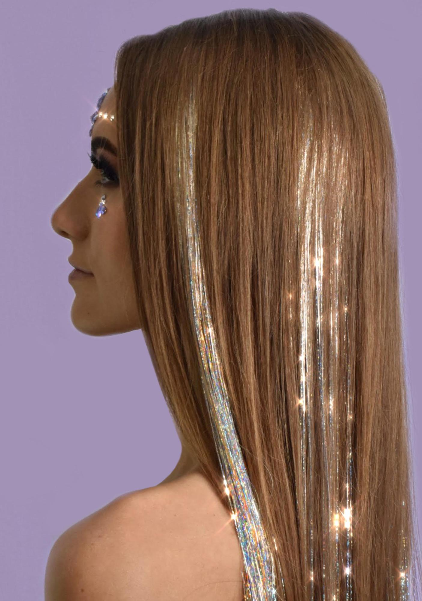 Lunautics Power Silver Holo Hair Tinsel Clip In Extensions