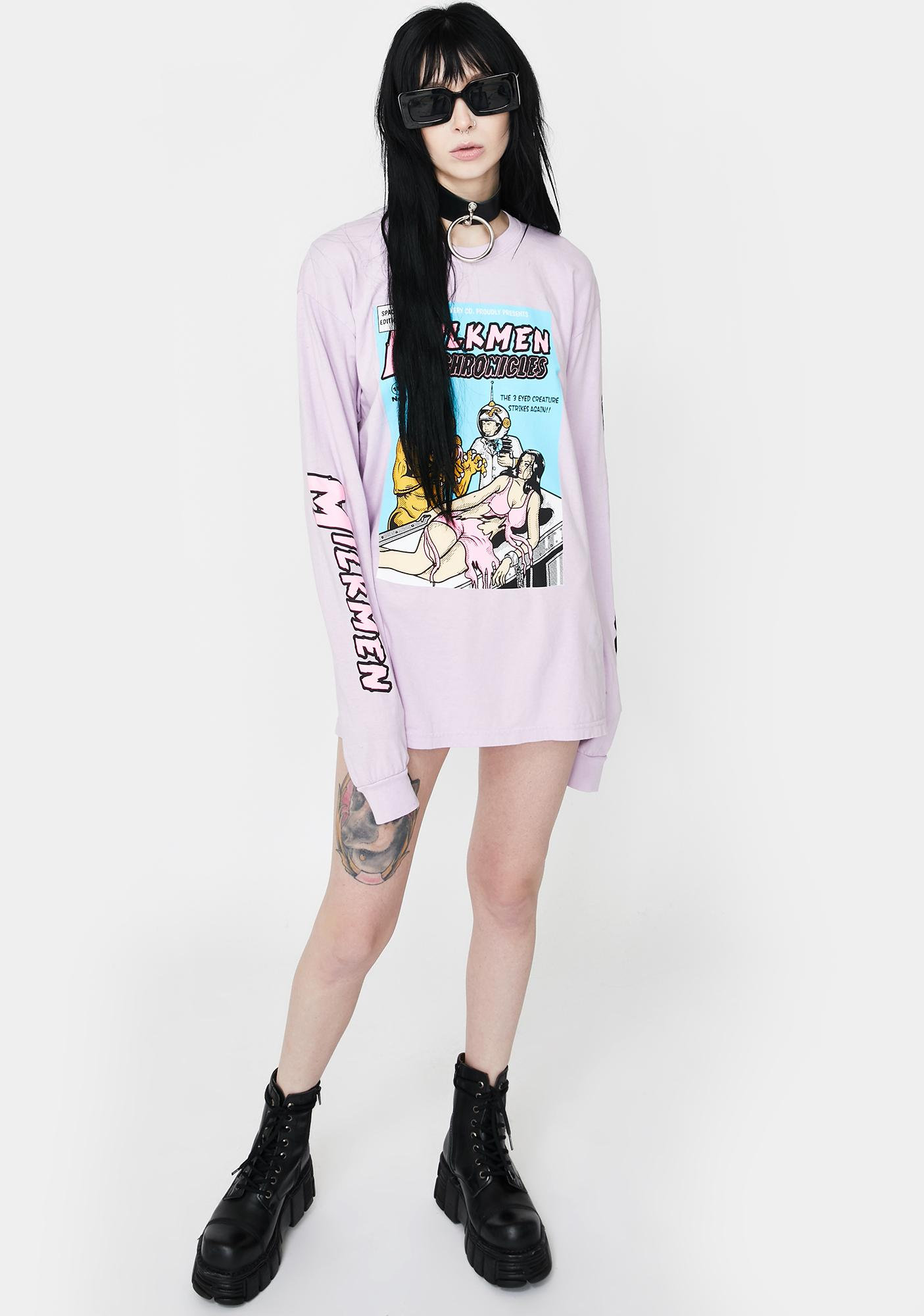 EXCLUSIVE DELIVERY CO. Purple 3 Eyed Creature Long Sleeve Tee