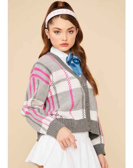 Moonlight Plaid Knit Button Up Cardigan