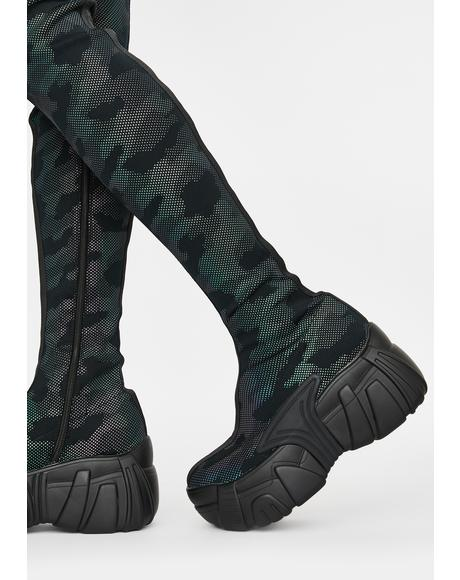 Digital Army Thigh High Boots