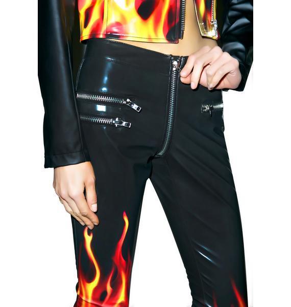 24HRS X Dolls Kill Flamin' Hot Moto Pants