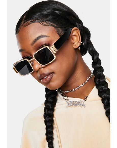 Pleasures Mine Rectangular Rhinestone Sunglasses