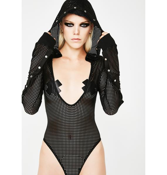 Club Exx Limitless Hooded Fishnet Bodysuit