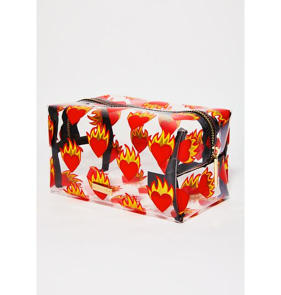 Skinnydip Flaming Heart Make Up Bag