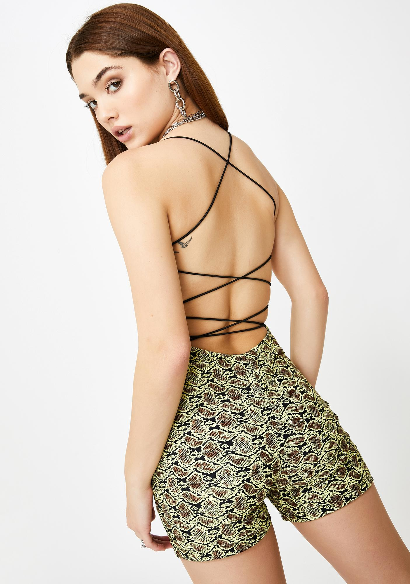 Tiger Mist Snake Beda Strappy Playsuit