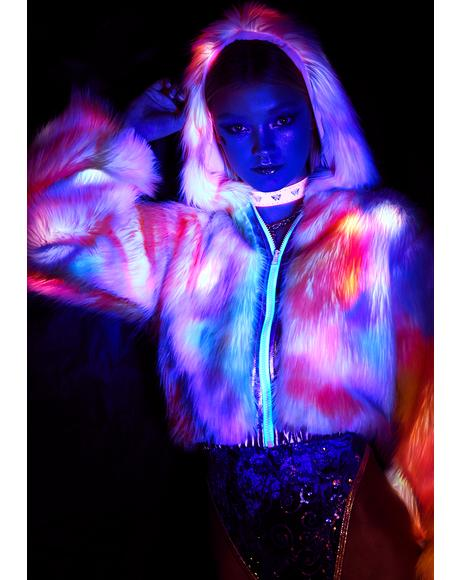 Rainbow Flashing Lights Cropped Jacket