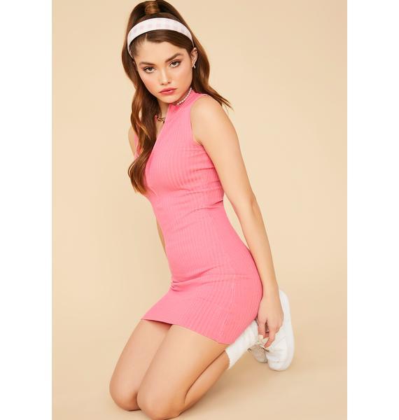 Rose Lady Luck Ribbed Mini Dress