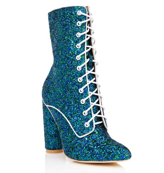 Mermaid Shine Show Lace-Up Boots
