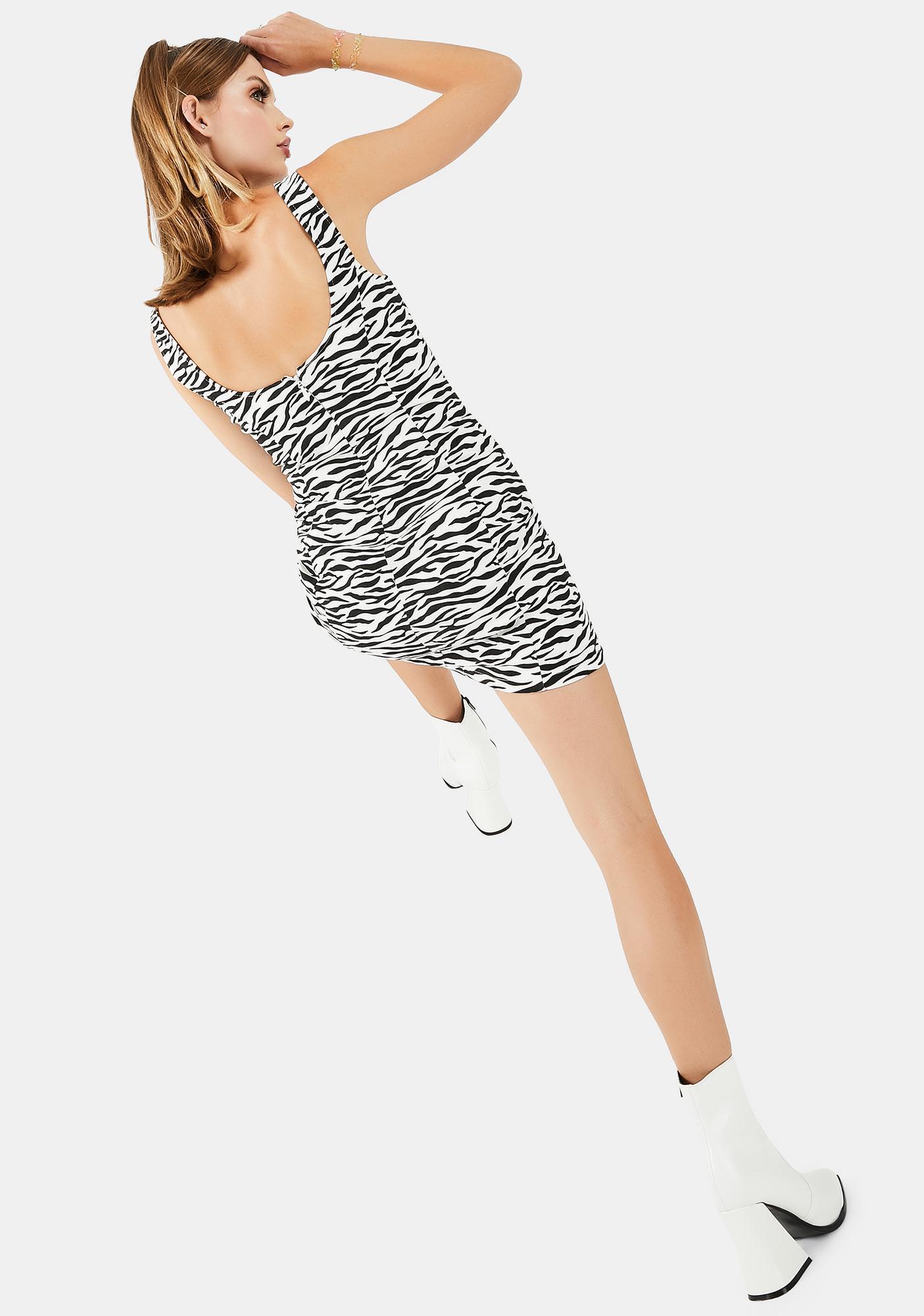 Re Named Zebra Mini Dress
