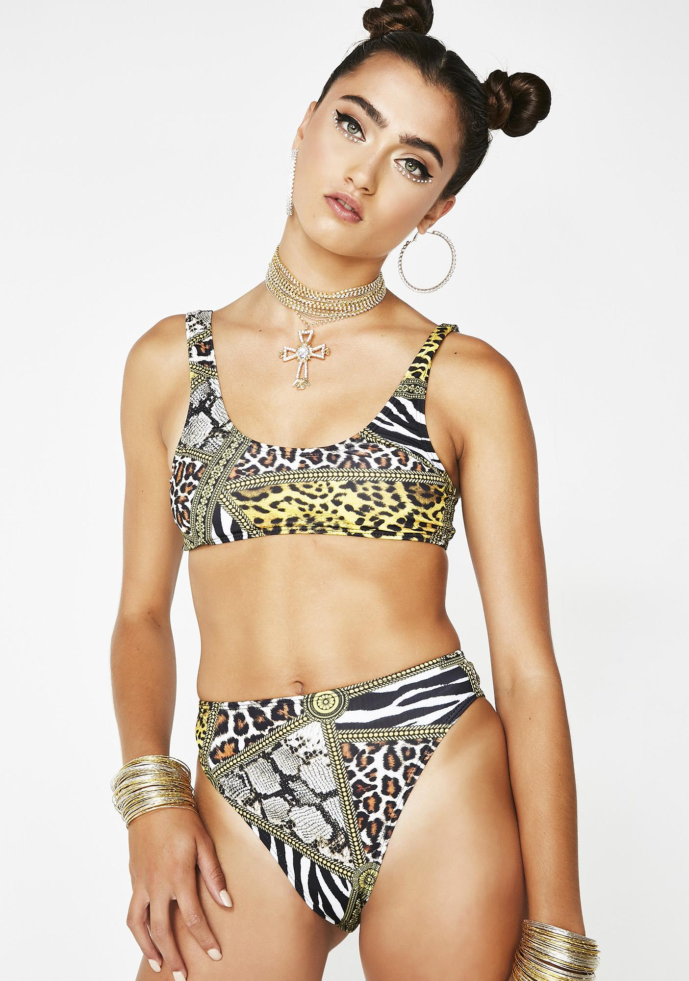 Animal Print High Leg Bikini Bottoms by Jaded London