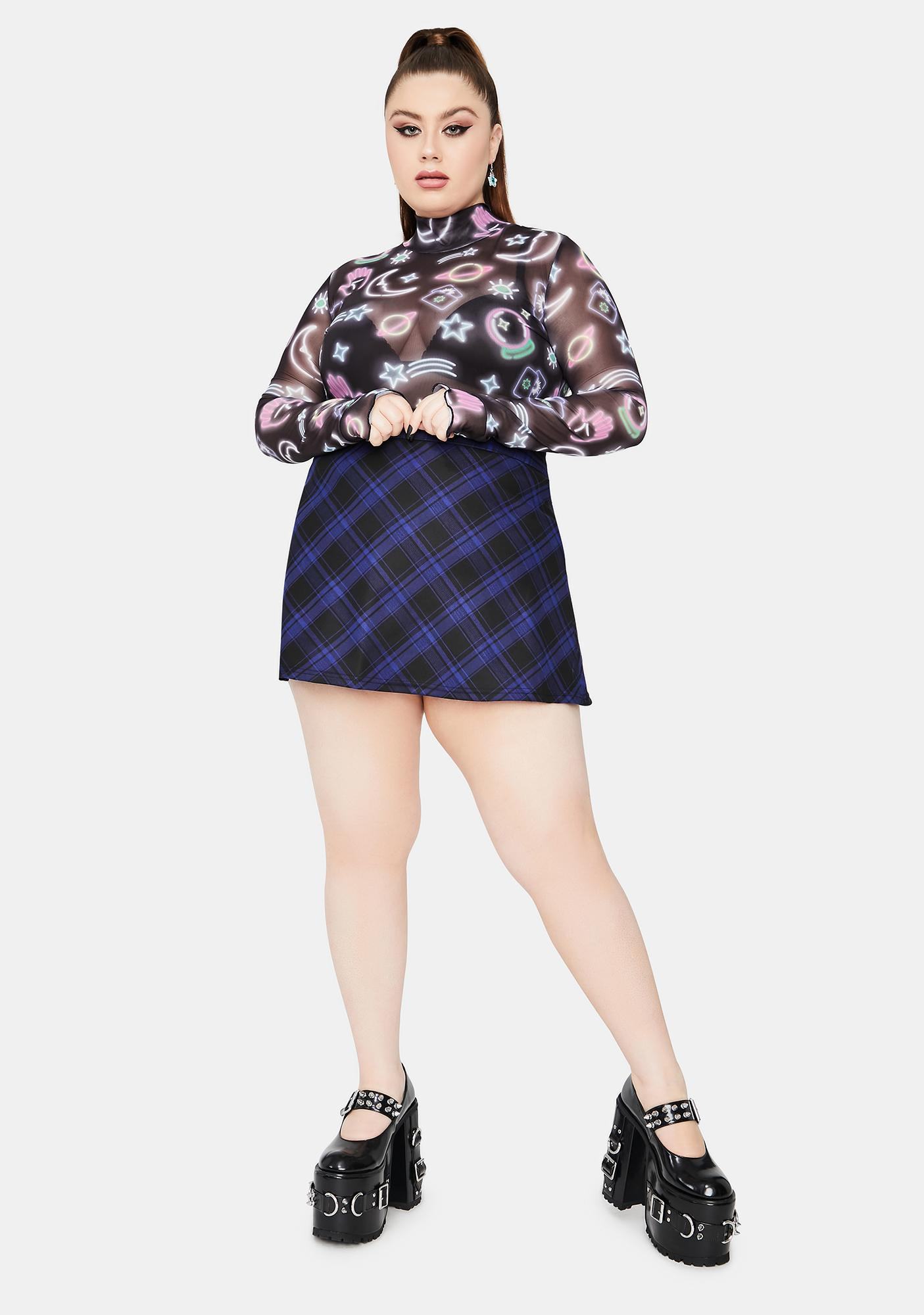 HOROSCOPEZ It's A Blue World Plaid Mini Skirt