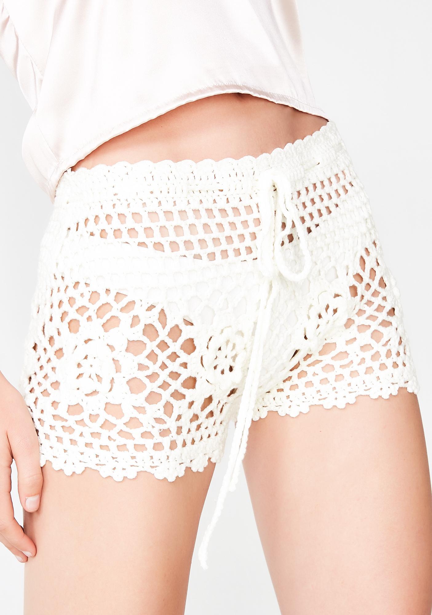 White Boho Crochet Drawstring Shorts Dolls Kill