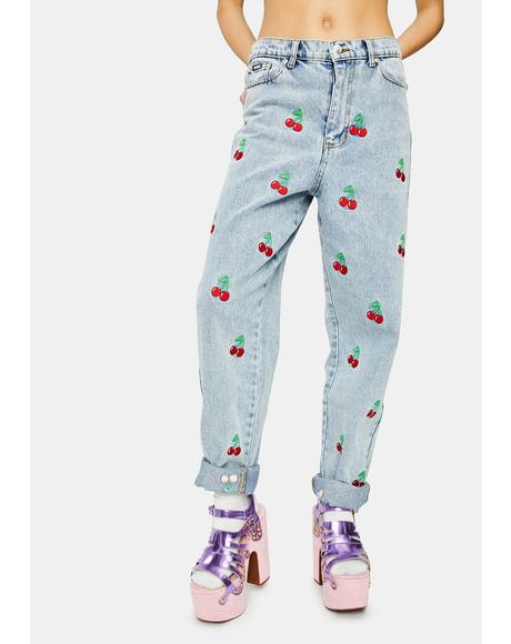 Cherry Embroidered Denim Mom Jeans
