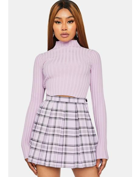 Lilac Bringing The Vibes Mock Neck Sweater
