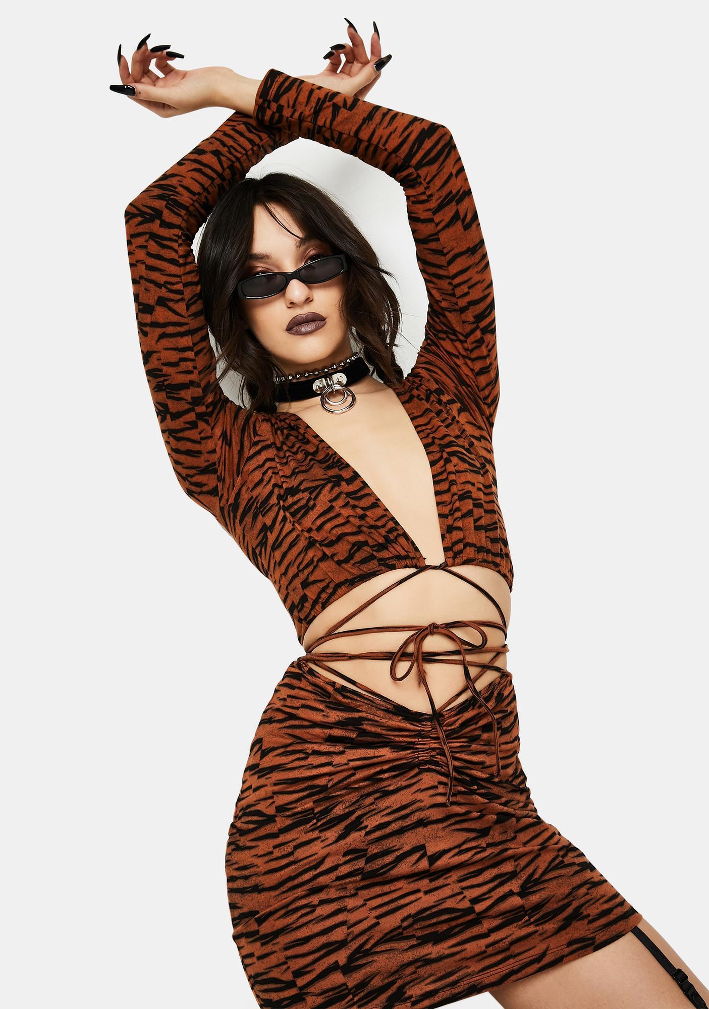 Motel Abstract Tiger Lieneva Wrap Top