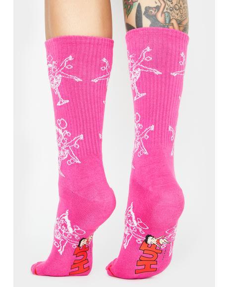Betty Boop Martini Crew Socks