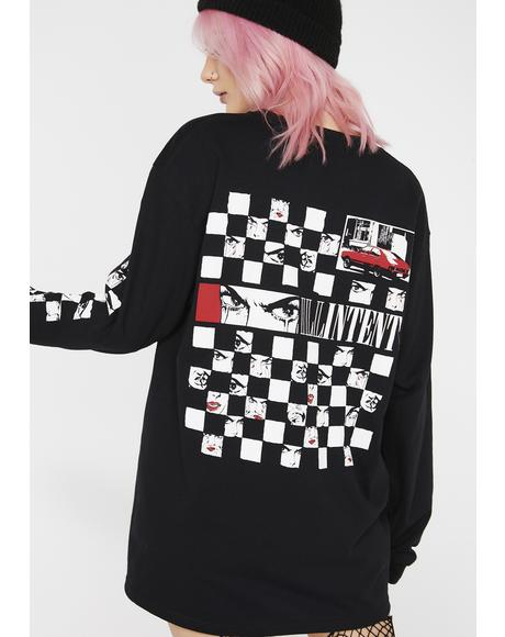 Checkerboard Eyes Long Sleeve Tee