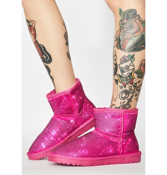 AZALEA WANG Pink All Night Long Rhinestone Ankle Boots