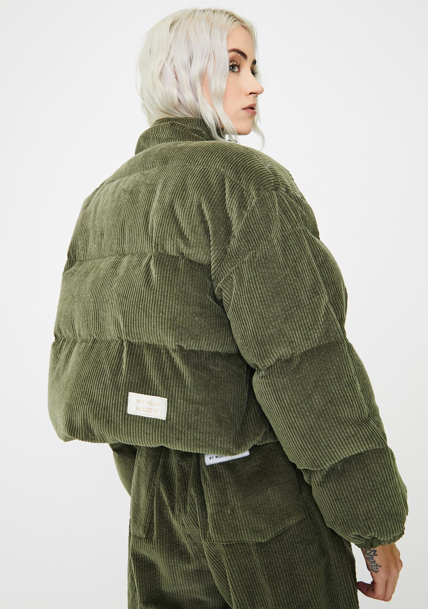 My Mum Made It Corduroy Puffer Jacket